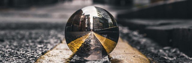 Crystal ball in the middle of the road
